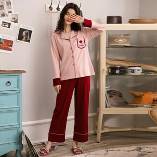 派邦奴睡衣女纯棉长袖春夏新品休闲开衫韩版可外穿家居服套装 70832076 豆沙 L
