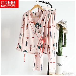 红豆居家女士睡衣春季纯棉日系和风长袖卡通植物印花家居服套装530 豆粉 170/92A