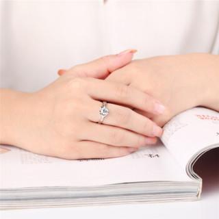 鸣钻国际 心仪 PT950铂金钻戒女 白金钻石戒指婚戒 求婚戒指 约19分 18号