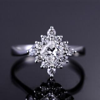 喜钻 18K金群镶钻戒女公主方钻女戒结婚求婚钻戒钻石戒指 9分 18号