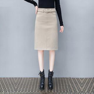 尚格帛 秋冬新品女装半身裙毛呢A字裙中长款时尚气质百搭包臀中裙 HZD09-8688GB 黑色 XL