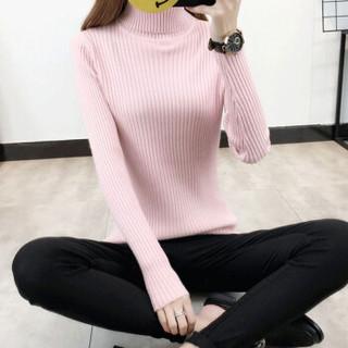亚瑟魔衣针织衫女2018秋冬季新款原宿风高领套头毛衣韩版长袖纯色打底衫SH-200 粉色 均码
