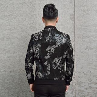 金盾(KIN DON)绵羊皮衣 新品男士简约棒球领印花皮衣外套5017-77009黑色L