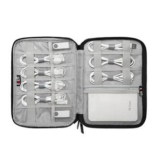 BUBM 耳机数据线收纳包数码多功能电源充电器盒硬盘U盘旅行便携整理袋 小号双层黑色DISD-MYB