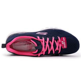 SKECHERS 斯凯奇 LIFESTYLE系列 女款绑带休闲跑步鞋 12615-NVHP 海军蓝色/桃红色 35