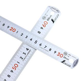 SHINWA 13137 日本企鹅牌不锈钢直尺翘头钢直尺钢板尺翘头直尺亚光木工尺带红数字JIS测量工具600MM