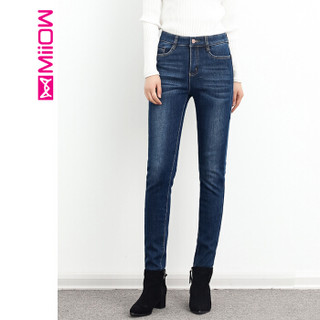 猫人(MiiOW)女裤新款加绒加厚百搭牛仔裤铅笔小脚长裤 M851001 蓝色 27码