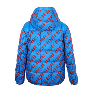 范思哲 范瑟丝 VERSACE VERSUS 奢侈品 男士蓝色锦纶两面穿字母logo羽绒服 BU50426 BT10755 B7401 52码