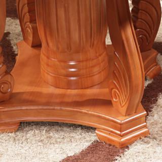 奈高餐桌美式餐桌椅组合餐厅实木圆形餐桌家用饭桌餐厅4/6人桌带转盘-SA21