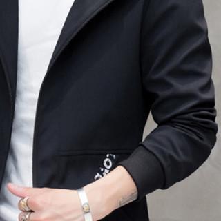 猫人(MiiOW)风衣2019春季新款男士休闲时尚连帽字母织带中长款大衣外套401-F812黑色M