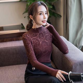 尚格帛 2018冬季新品女装打底衫女韩版修生显瘦针织长袖打底衫 zx0E066-6019GB 酒红色 L