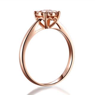 喜钻 玫瑰18K金群镶显钻效果钻石女戒结婚订婚钻戒女钻石戒指女16分 14号