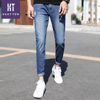 皓顿(HAUTTON) 牛仔裤男2019夏季新款韩版修身刺绣直筒裤子男潮  蓝色 31码