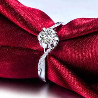 鸣钻国际 相依 PT950铂金钻戒 白金钻石戒指结婚求婚女戒 情侣对戒女款