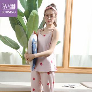 帛翎睡衣女春夏季纯棉长袖性感吊带衫全棉女士家居服三件套装3692 粉色XXL