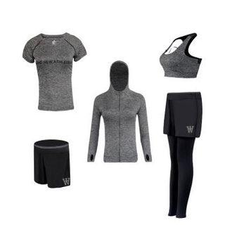 维迩旎  2019春季新款自营女装T恤女瑜伽服五件套运动休闲套装跑步衣服健身衣 HC0716-13 灰色五件套 M