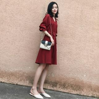 liqiao 丽乔  春夏新款女装新品连衣裙女韩版气质V领中长款开叉裙收腰显瘦复古 zx3A66-1661 铁锈红 XL