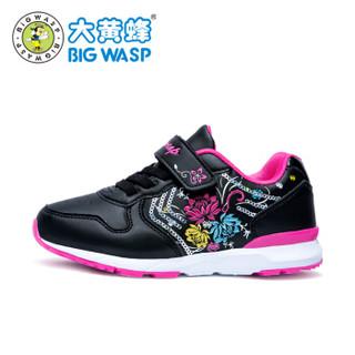 大黄蜂童鞋 女童运动鞋公主春季儿童跑步鞋轻便小童休闲鞋208317656黑玫红 27