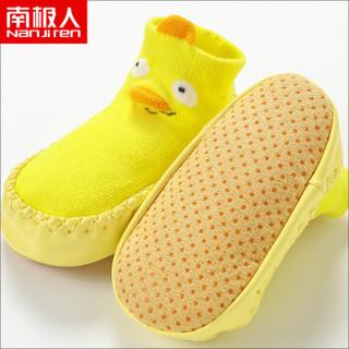 南极人 儿童袜子宝宝学步鞋袜婴儿卡通防滑地板袜室内袜套 黄色 S(建议脚长8-9cm)