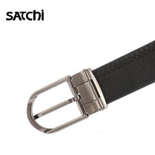 沙驰(SATCHI)男士皮带针扣商务休闲头层牛皮腰带男款百搭裤带FD04544-2H长 黑色