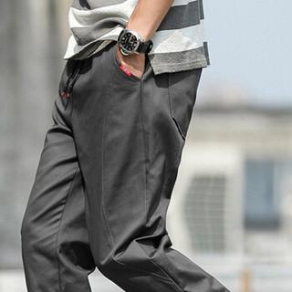 卡帝乐鳄鱼(CARTELO) 男士时尚休闲束脚九分休闲裤子KZ805深灰3XL
