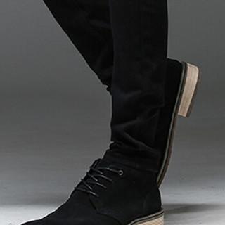 猫人(MiiOW)男士牛仔裤青春休闲百搭加绒加厚牛仔长裤QT1012-2108黑色加绒34