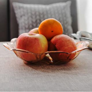 优鹉 现代简约创意梅花水晶水果盘家用干果水果盘欧式客厅糖果水果盆个性可爱 小号黄金色
