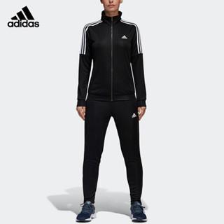 adidas 阿迪达斯 运动服套装女款春秋款长袖外套篮球服跑步休闲长裤羽毛球服 BK4695 L码 黑色