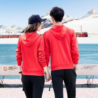 FANDIMU 范迪慕 卫衣男运动套装男冬季新款加绒运动服时尚休闲卫衣运动套装 FDM1805-男款红色-加绒卫衣两件套-L