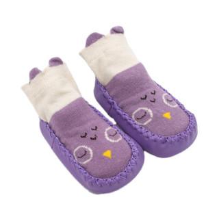 欧育婴儿鞋袜中筒地板袜宝宝防滑学步鞋儿童地板鞋室内袜套B1012 粉+紫2双装/12cm