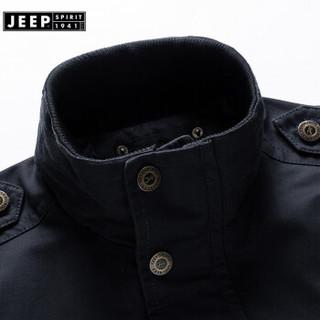 JEEPSPIRIT吉普 2019春秋季新品 型男式夹克 男款大码夹克外套  RSC1671黑色 XL