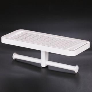 AeroTeK  长形双卷纸架置物纸巾架免打孔简易卷纸架浴室卫生间挂件壁挂式置物 白色