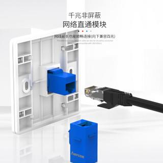 安普康(AMPCOM)六类网线直通头 RJ45直通模块转接头 网络直通双通头水晶头延长连接器 蓝色AMC60802(BU)