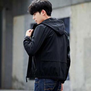猫人(MiiOW)夹克 男士时尚休闲百搭连帽长袖夹克外套QT810-wxy21黑色2XL