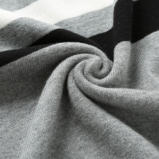 AEMAPE/美国苹果 毛衣男士针织衫2018冬季新款保暖圆领条纹套头衫线衣男式修身上衣 17040 酒红 4XL
