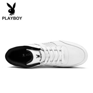 PLAYBOY 花花公子 韩版时尚休闲男靴小白鞋保暖防水防滑  白色 -加绒 39 DA75225-1
