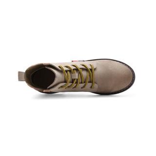 YIYA 毅雅 713308 英伦复古风时尚V字口平跟优雅小圆头系带马丁靴女 卡其色 39