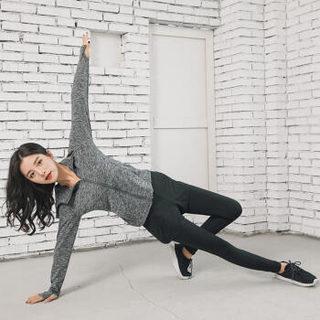 丽乔 2019春季新款T恤女瑜伽服五件套运动休闲套装跑步衣服健身衣 HC0716-13TZV 紫红五件套 M