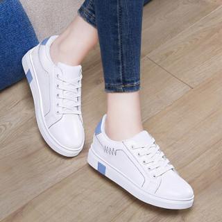 古奇天伦 女士韩版时尚百搭运动跑步休闲小白鞋 8919 白蓝色 39