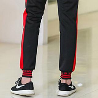 猫人(MiiOW)卫衣套装2019春季新款男士休闲时尚潮流连帽套头卫衣运动套装911-TZ11黑红L