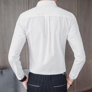 俞兆林(YUZHAOLIN)长袖衬衫 男士潮流商务休闲纯色长袖衬衫110-C930白色3XL