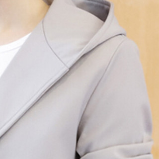 俞兆林(YUZHAOLIN)风衣夹克 男士时尚简约连帽纯色夹克外套401-F124浅灰色L