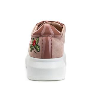 le saunda 莱尔斯丹 时尚休闲运动圆头系带平底绣花小白鞋  LS 9T38502 深粉红色 37