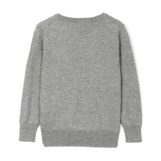 GAP旗舰店 男童 小熊图案V领长袖针织衫 338273 浅灰色 100cm(3T)