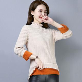 尚格帛 2018冬季新品女装毛衣女长款加厚打底针织衫纯色加绒毛衣 LLFYE8527GB 黑色 M