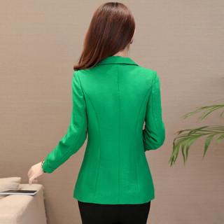 欧偲麦 短外套女小西装女条纹2018秋装新款韩版修身职业显瘦时尚女装 ZQ-YNE010 绿色 XL