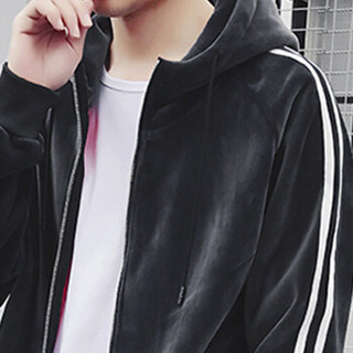 金盾(KIN DON)卫衣套装 2019新款男士时尚简约加绒加厚双面绒保暖运动套装A102-DJ913深灰色2XL