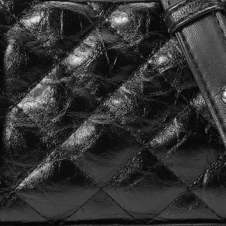 BANDICOOT 时尚风格袋鼠 女包小香风单肩包时尚菱格斜挎链条包女流浪包女士斜挎包包女包 BWBD0219014黑色