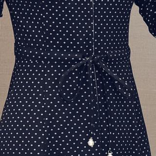 欧偲麦 秋季连衣裙长袖中长款翻领波点女装时尚修身显瘦宽松大码新款 ZQ-CH9010 蓝色 3XL