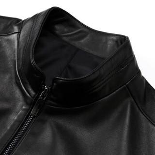 凯撒 KAISER 皮衣 新款男式立领商务休闲绵羊皮男士时尚百搭皮夹克外套上衣 黑色 180/96A